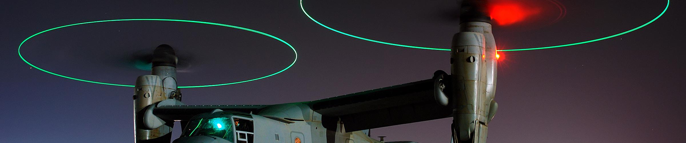 V-22 Osprey with blade tip lights
