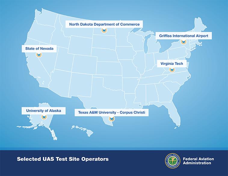 FAA UAS Testing Site Map