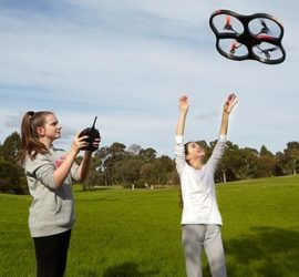 Girls flying a drone