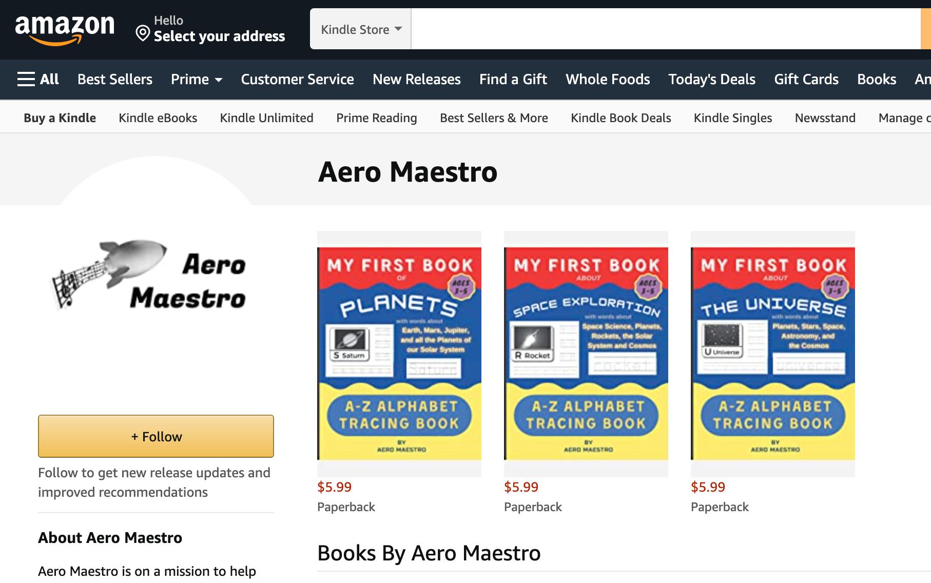Aero Maestro author page on Amazon